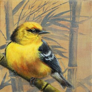 """Blue Winged Warbler and Bamboo,"" oil on panel, by Jhenna Quinn Lewis"