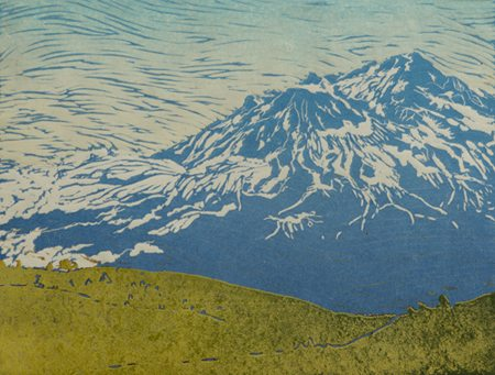 Rogue Gallery June 2016 Exhibits and Events, medford oregon : Shasta Summer, Woodblock print by Melinda Whipplesmith Plank