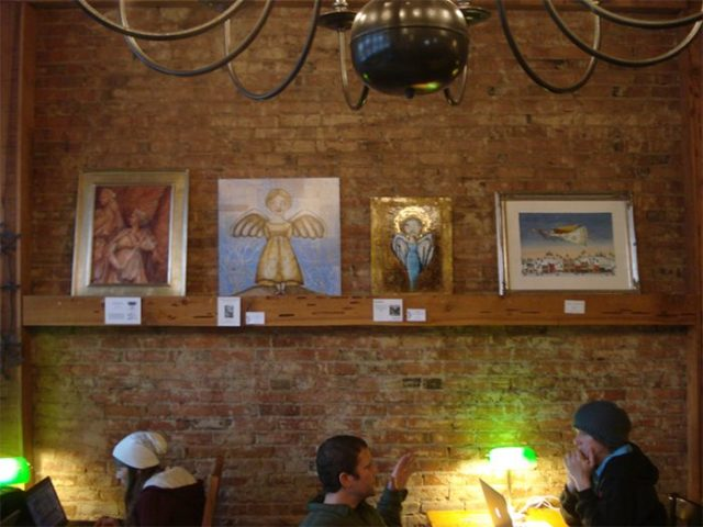 four angels from the 2014 Angels show at GoodBean Coffee in Jacksonville Oregon, December 2014