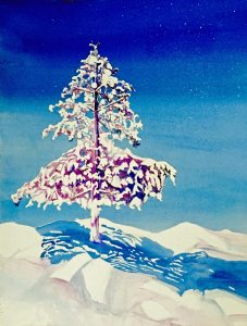 Ashland Gallery Association Featured Gallery Exhibits January 2017 - 'Snow Moon' watercolor by Pamela Haunschild