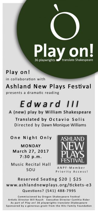 Edward III Presented by Play On!, Ashland New Plays Festival