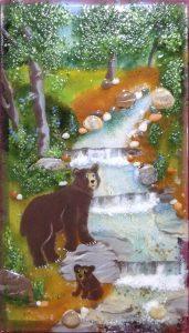 Jessy-Carrara-In-the-Woods-glass-art-bear-and-cub-by-stream-171x300.jpg
