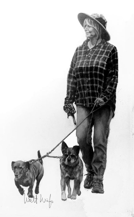 Leona and Friends, Graphite drawing by Walt Wirfs