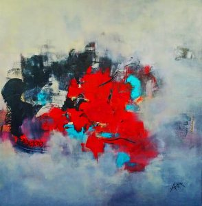 "Alx Fox Sunrise Through the Mist Abstract Acrylic on Canvas, 36"" x 36"""
