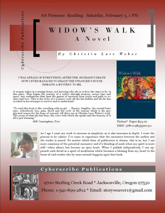 Widows Walk Flyer to promote Christin Lore Weber's new book
