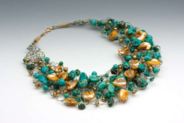 Handcrafted crocheted necklace by Carol and Bob Sharp