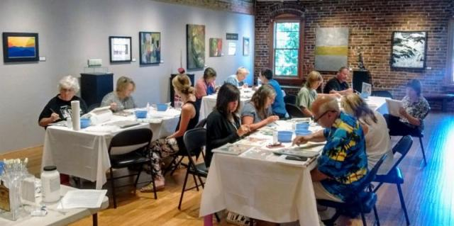 GPMA Adult Art Classes: Now through July 2018 - Participants painting in Adult Art Classes at Grants Pass Museum of Art, Grants Pass, Oregon
