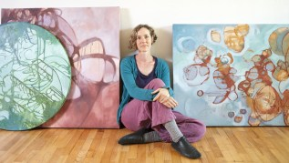 Natural Painting Workshop in Italy! Picture of Leah Mebane with works created with Natural Earth Paint