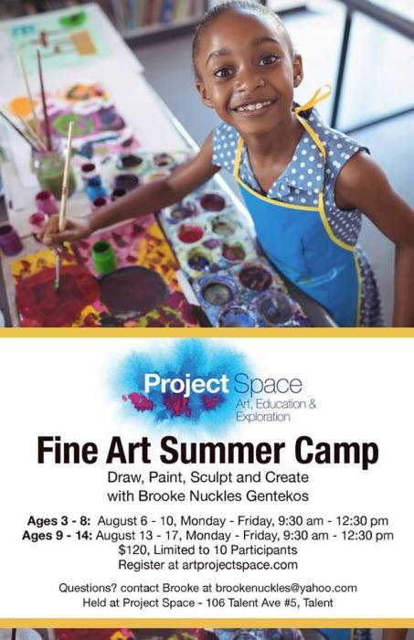 Summer Fine Art Camps taught by Brooke Nuckles Gentekos artist August 6 - 10 ages 3-8 August 13 - 17 ages 9-14 Monday - Friday, 9:30 AM to 12:30PM  Cost: $100 + $20 materials fee (includes all drawing and painting materials, canvas, wire, etc.)  Young artists will explore foundational visual art skills making original works of art with quality art materials.