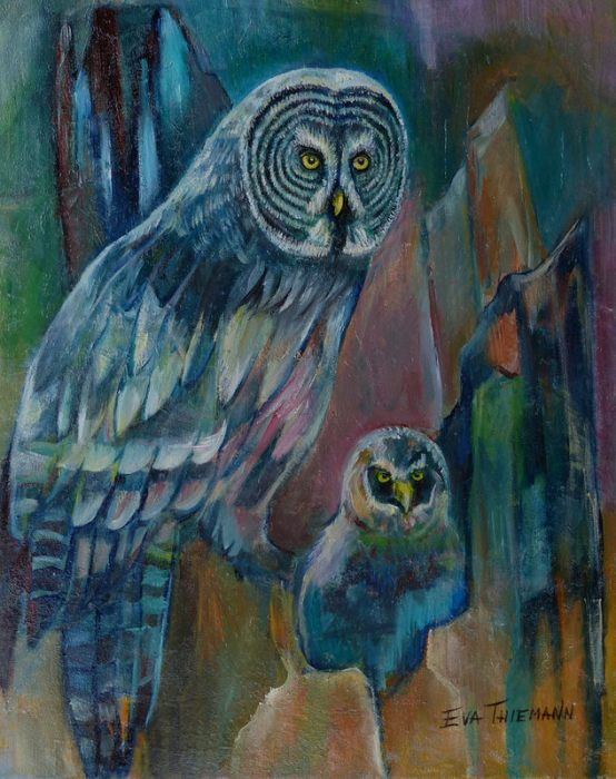 Artist Eva Thiemann announces two shows: Image of Oil painting of an Owl with Chick, by Eva Thiemann