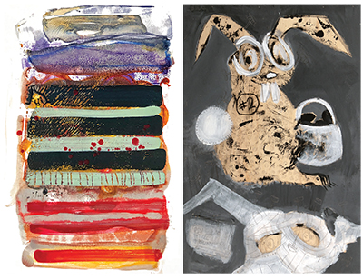 left to right: Dianne Jean Erickson, Stripe Stack; Barbara Martin, Don't Be The Bunny Reception: Friday, February 15, 5:30-8:00 pm Portland artists, Dianne Jean Erickson and Barbara Martin, create highly imaginative contemporary works. Erickson creates encaustic monotypes and mixed media prints. Martin uses acrylic, oil pastel and pencil in her mixed media paintings. Their work is infused with energy and expression.