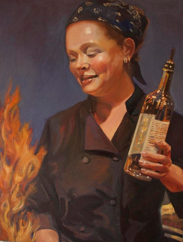 "Ashland's First Friday Art Walk, April 3rd: Jeanne LaRae Lagano, ""Chef's Love of the Flame,"" oil painting"
