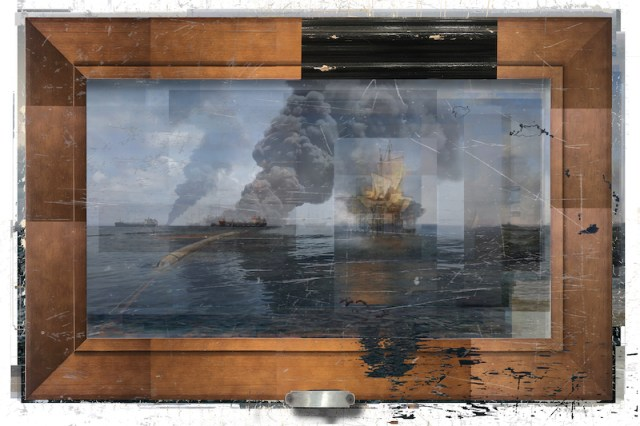 *image courtesy of the Catharine Clark GalleryDeborah Oropallo, Video Frame: Pirates, Paris, photomontage on paper