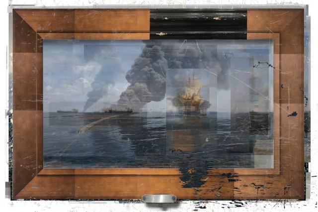 *image courtesy of the Catharine Clark GalleryDeborah Oropallo,Video Frame: Pirates, Paris, photomontage on paper