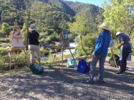 Silvia Trujillo plein air paintings withstudents