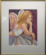 Angels show : Weary Angel, watercolor by Anne Brooke