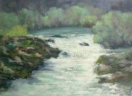 Silvia Trujillo painting of a forest stream in oil