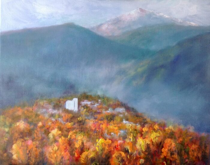 plein air painting of a hillside in autumn color with snowy mountains in the backgrounplein air painting of a hillside in autumn color with snowy mountains in the background by silvia trujillod by silvia trujillo