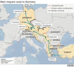 Map showing the main migrant route into Germany