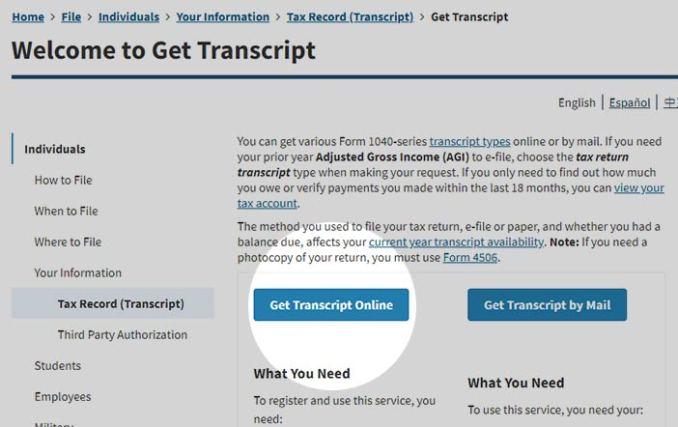 How to Obtain an IRS Tax Return Transcript
