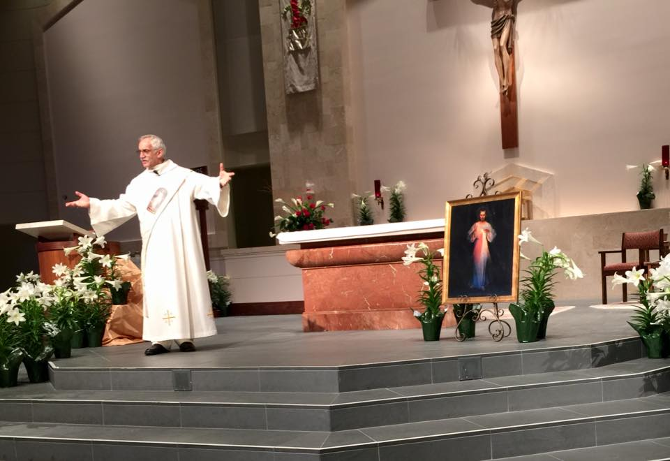 My dad, Sir Knight Reverend Mister Thaddeus (Ted) Horbowy giving witness to the power of Devine Mercy and the Polish Catholic Community in Houston, Tx on Devine Mercy Sunday at the Catholic Charismatic Center.