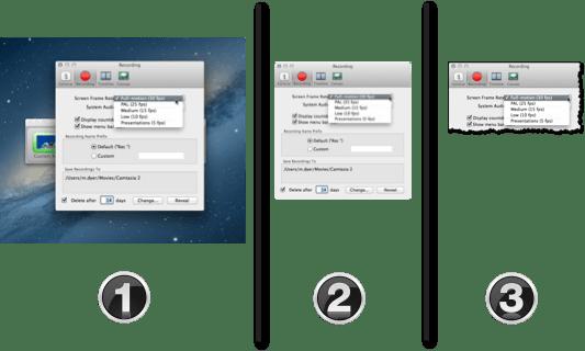 three variations of a screenshot