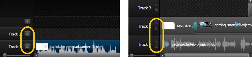 Camtasia Studio 8.2 video tutorial (left) compared with 8.3 UI (right)