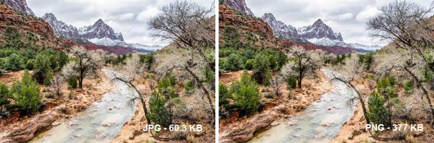 JPG vs. PNG side by side comparison picture of Zion National Park
