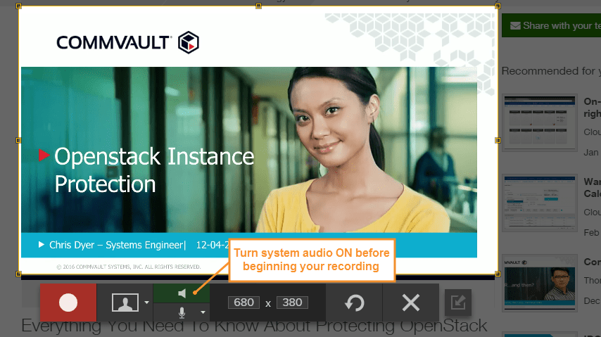 screenshot showing Snagit audio capture button