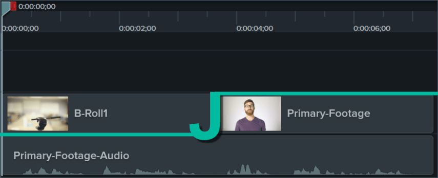 AN example of a J-cut on the Camtasia timeline.