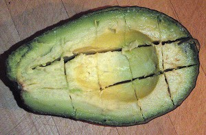 one way to slice up an avocado
