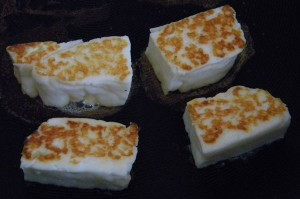 frying halloumi cheese