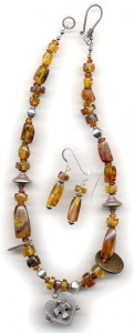 amber necklace and earrings