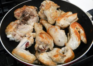 the cut-up chicken was browned