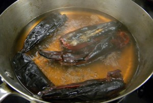 Boiling Charred Chiles