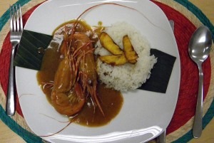 mole with prawns, Veracruz-style