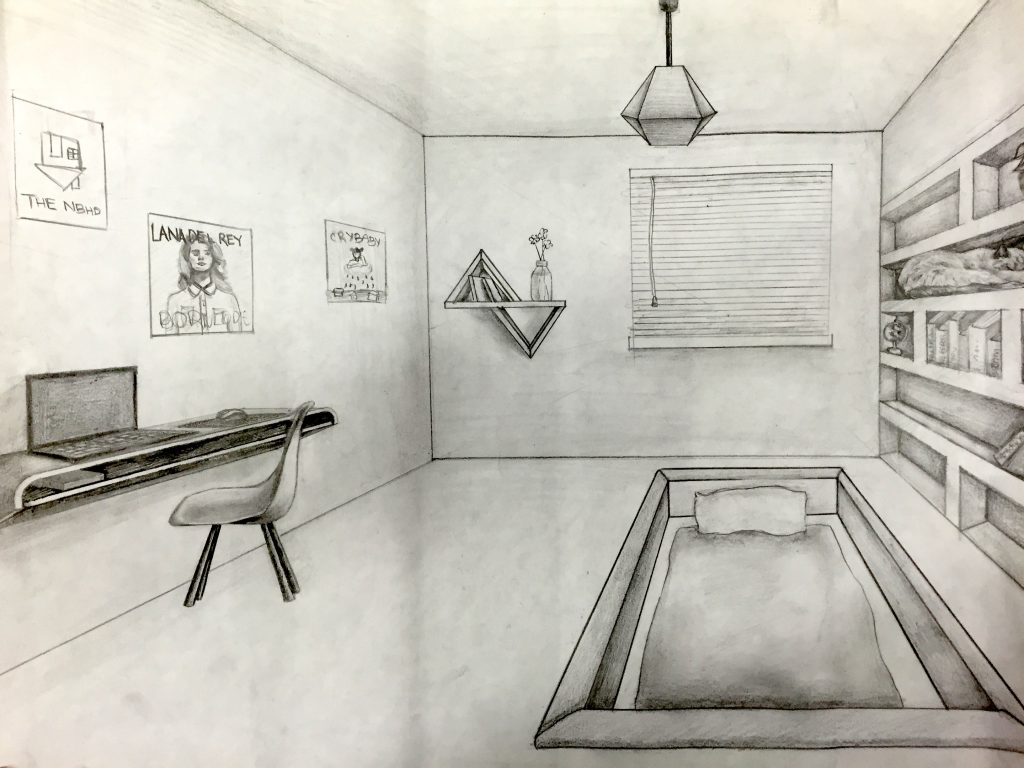 One Point Perspective Room Drawing Jennifer Chen