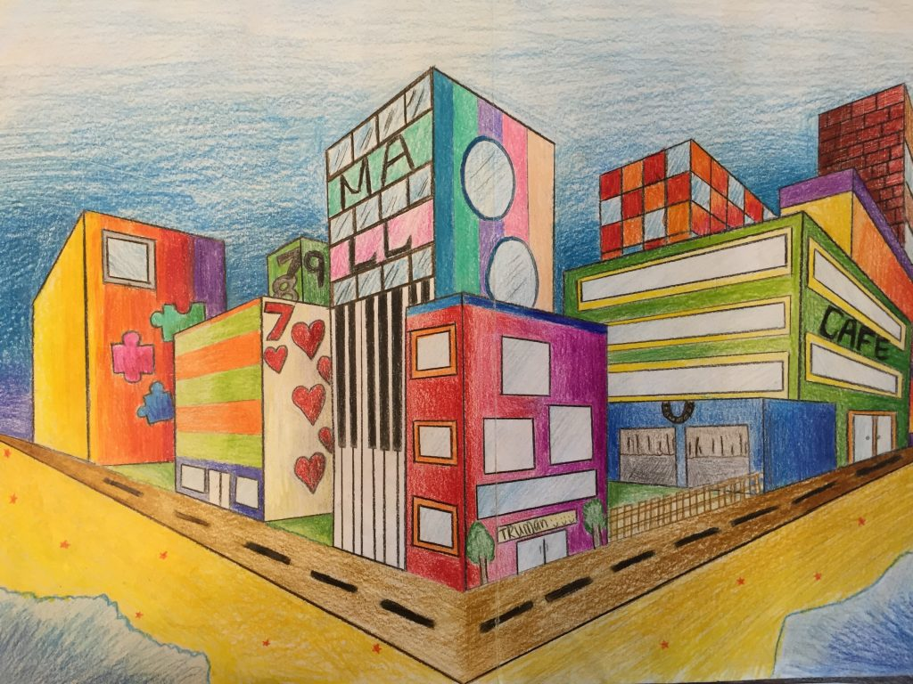 Two Point Perspective Futuristic City Drawing Jennifer Chen