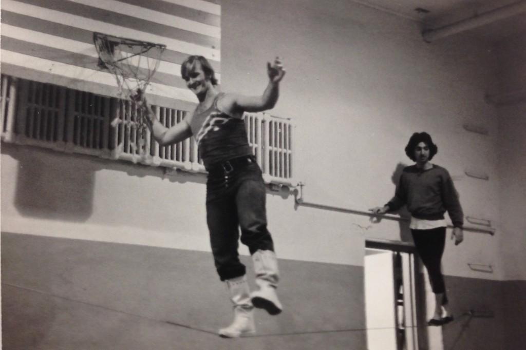 Pochinko training on the tightrope. Photo courtesy of Ian Wallace