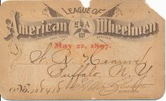 League of American Wheelmen membership card, 1897