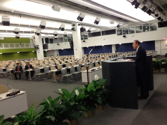 Secretary-General Ban Ki-moon put the finishing touches on his remarks to member states that he'll deliver this week. Credit: UN Photo/Rick Bajornas.