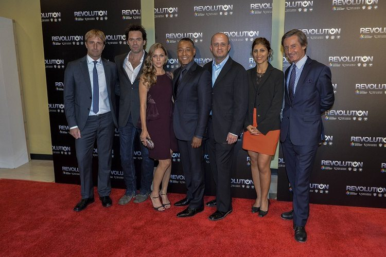 UN staff with Revolution cast and creator at Season 2 premiere, United Nations Headquarters, New York. L-R: Derk Segaar, UN Office for the Coordination of Humanitarian Affairs; Revolution stars Billy Burke, Tracy Spiridakos and Giancarlo Esposito; creator/executive producer Erik Kripke; Bahareh Seyedi, UN Development Programme; and Peter Launsky-Tieffenthal, the UN's Under-Secretary-General for Commuications and Public Information.