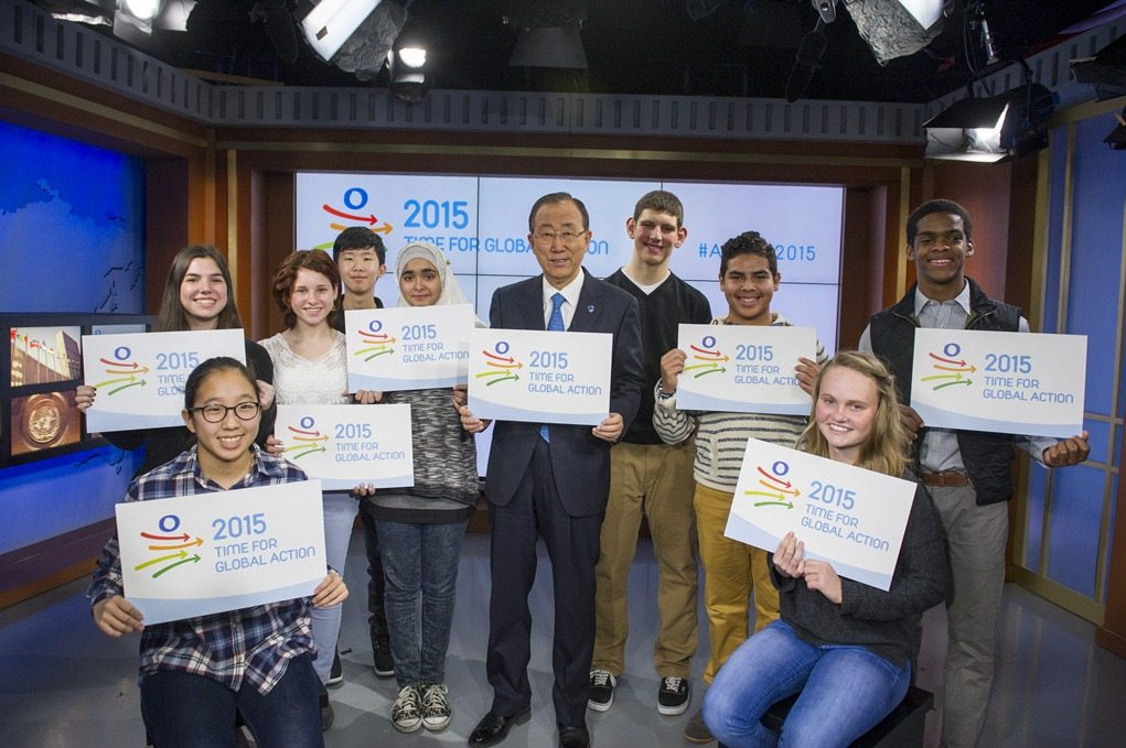 On 15 January, 2015: Time for Global Action kicks off with the support of civil society. In this photo, the Secretary-General meets with some fifteen year olds to shine the spotlight on the importance of the year.