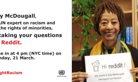 "Reddit ""Ask me anything"" session on eliminating racism with human rights expert Gay McDougall"