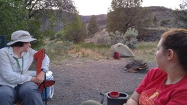 Dr. Hopkins and Danielle observe our camp bunny in the John Day Basin