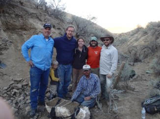 Part of our field crew with the Ione Mammoth tusk. Back row: Nick Famoso (far right), John Jacisin, Amy Nelson, Dr. Davis.