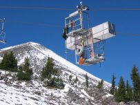 Moving equipment up to Mt. Bachelor Observatory by chairlift - September 2004