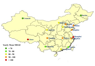 Average 8-hour MDA8 (ug/m3) ozone concentrations for 16 Chinese cities, 2014-2016