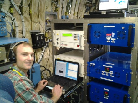 Jesse Ambrose in the C130 aircraft used in the NOMADSS project, June 2013