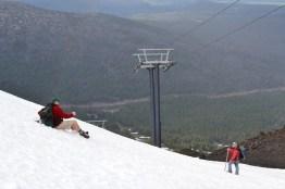 Dan Jaffe sliding down Mt. Bachelor, July 2011